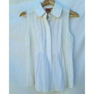 Tory Burch Sleeveless Eyelet Ivory Pleated Top 2